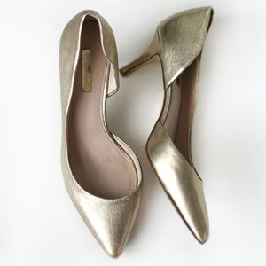 Louise et Cie gold pointed heels pumps Lo davosa